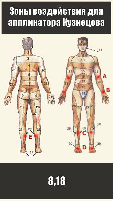 Для снижения менструальных болей во время месячных следует обрабатывать зоны 8 и 18. Это область крестца и низ живота.